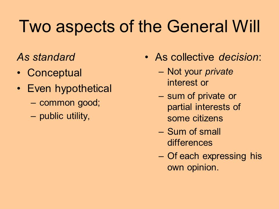 Two aspects of the General Will