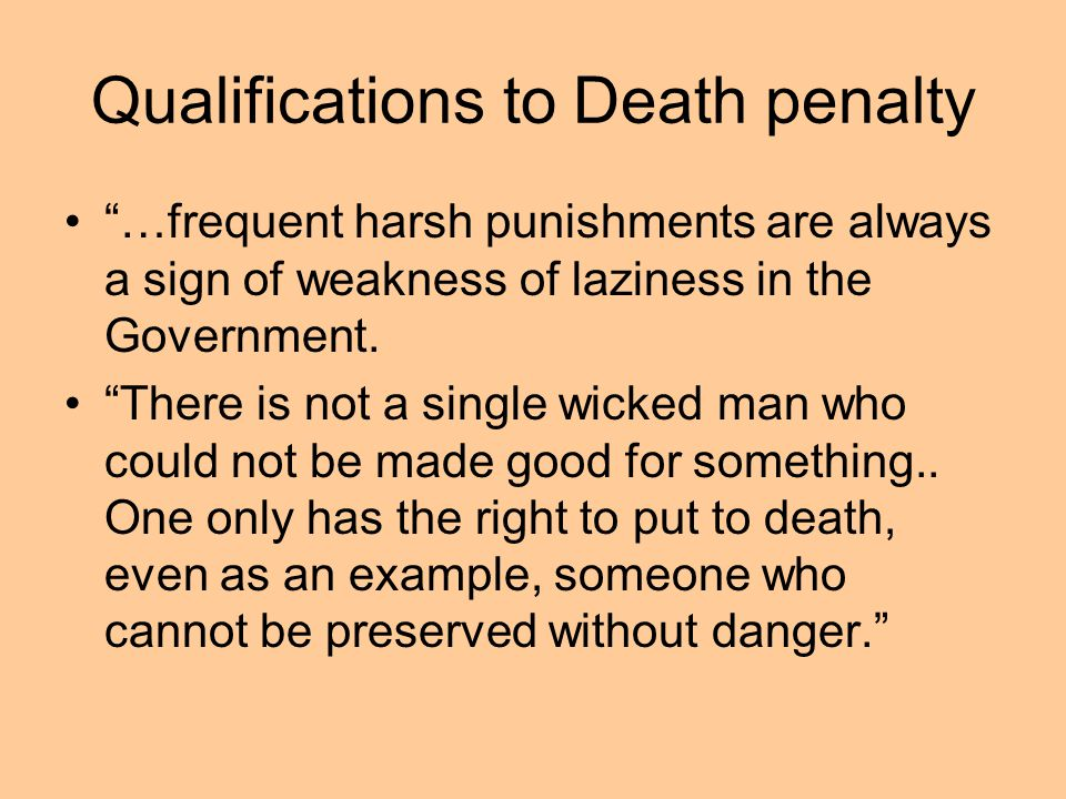 Qualifications to Death penalty
