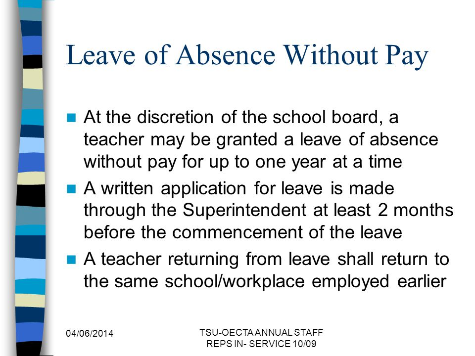Leave of Absence Without Pay
