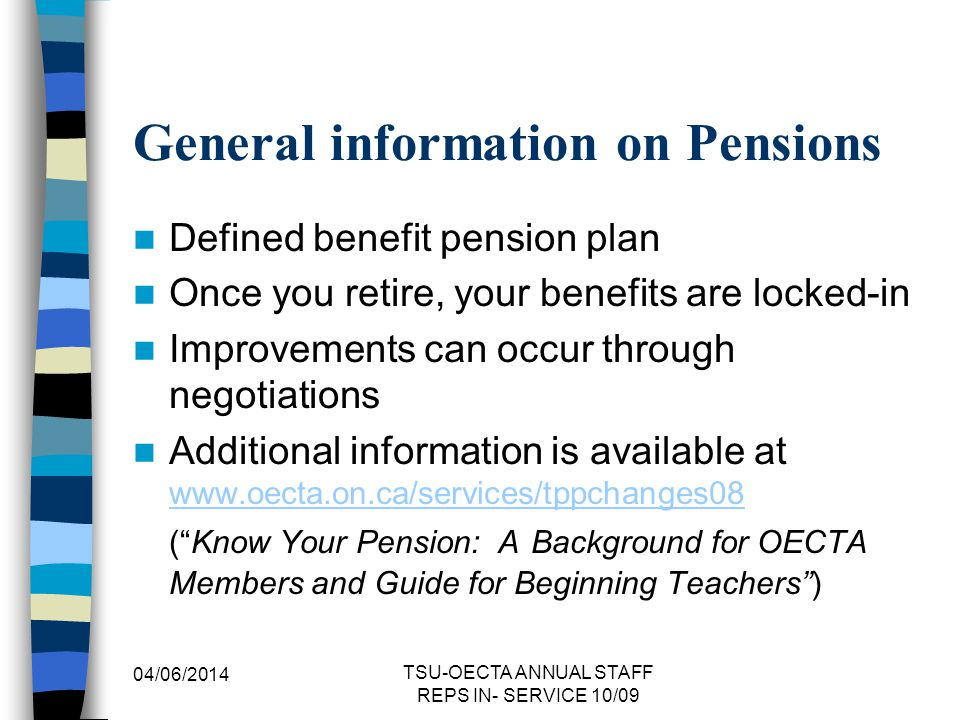 General information on Pensions