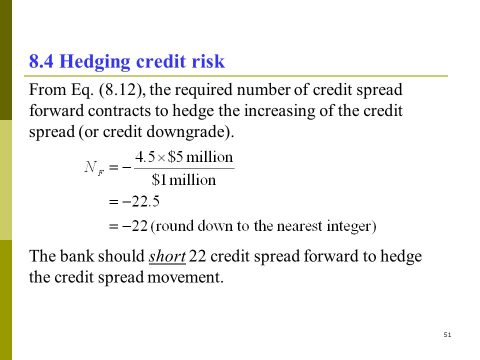 8.4 Hedging credit risk