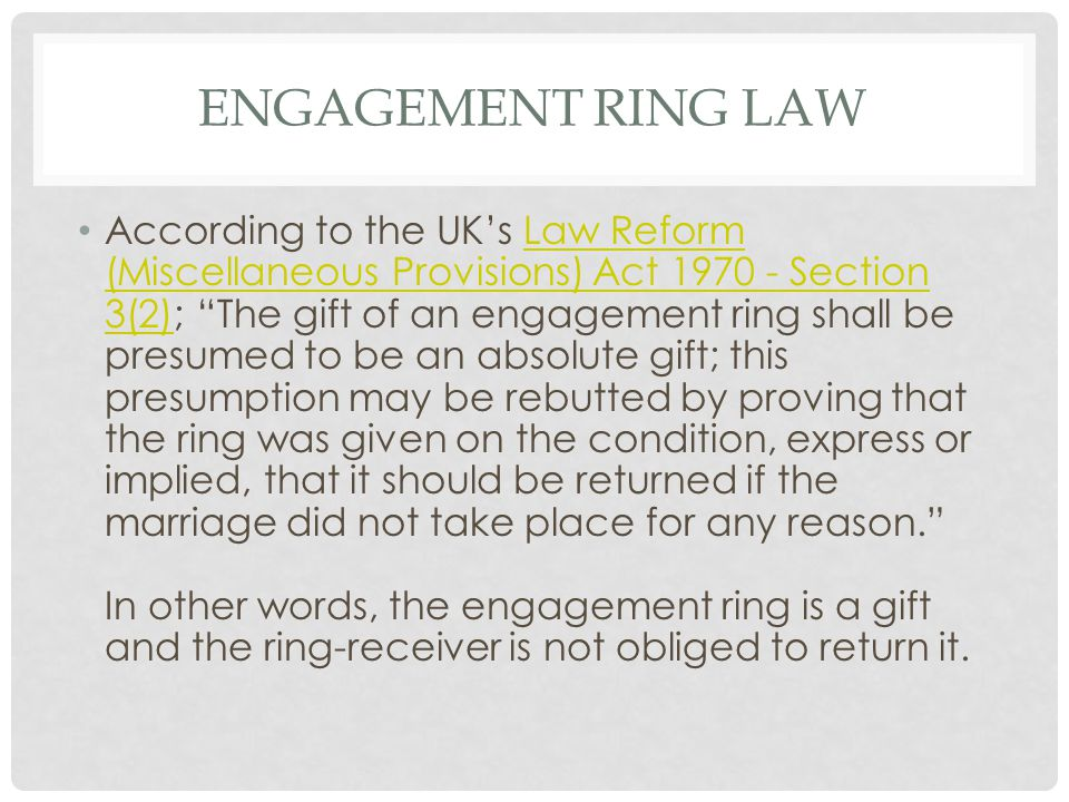 Engagement Ring Law