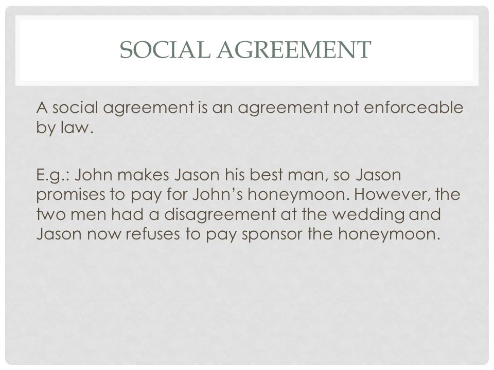 Social agreement