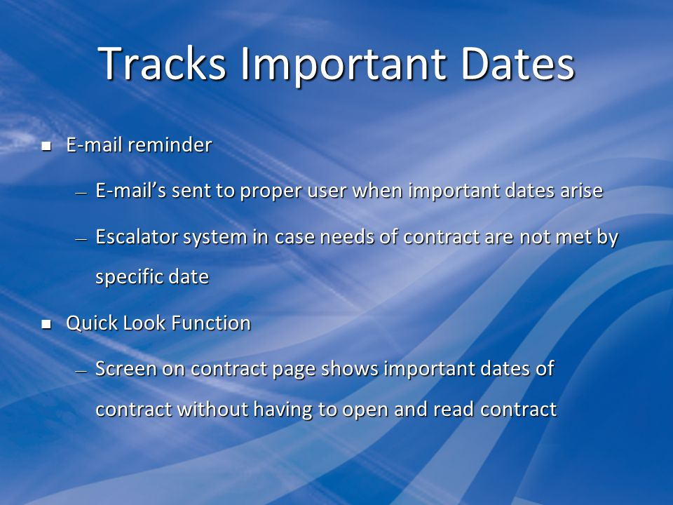 Tracks Important Dates
