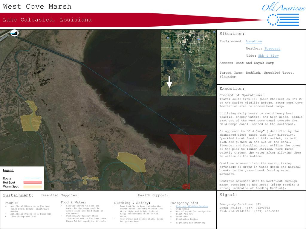 West Cove Marsh Lake Calcasieu, Louisiana Situation