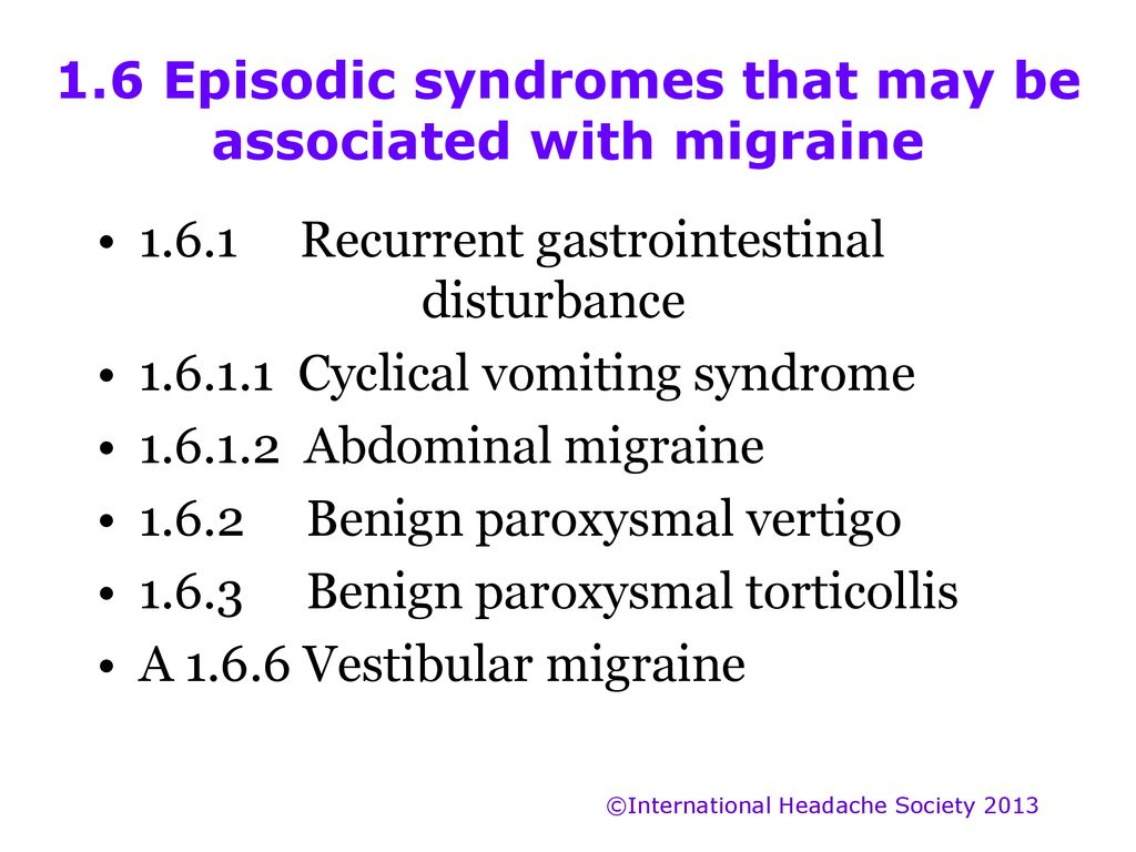 INTERNATIONAL CLASSIFICATION of HEADACHE DISORDERS 3rd