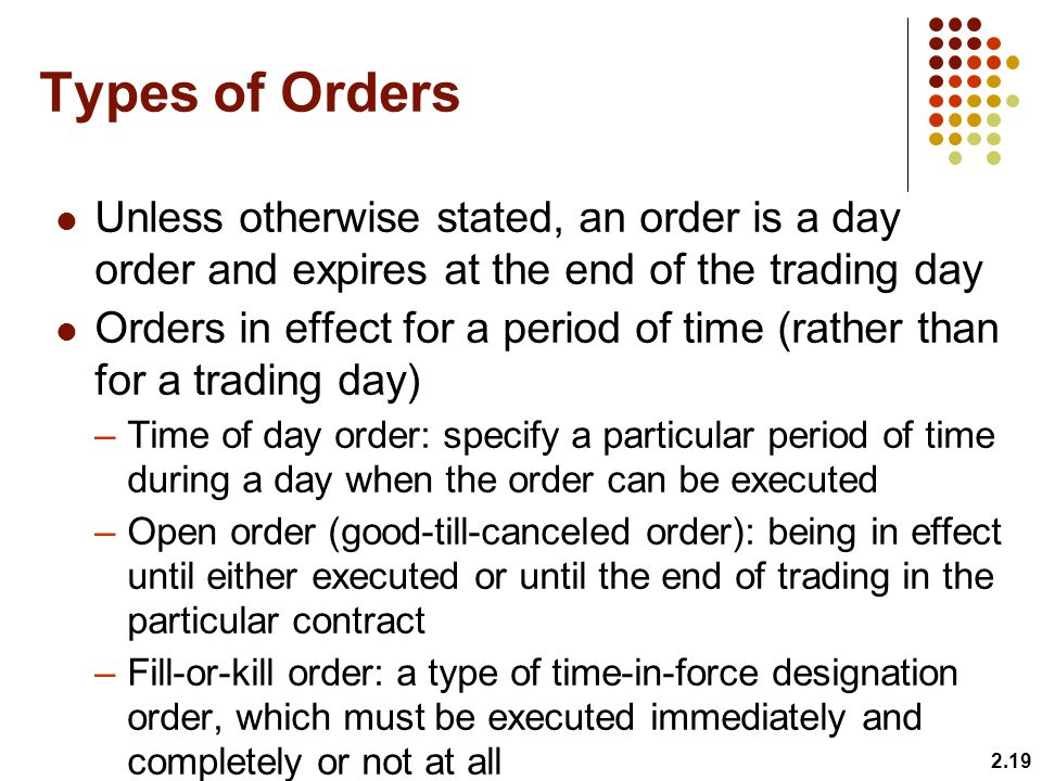 Types of Orders Unless otherwise stated, an order is a day order and expires at the end of the trading day.