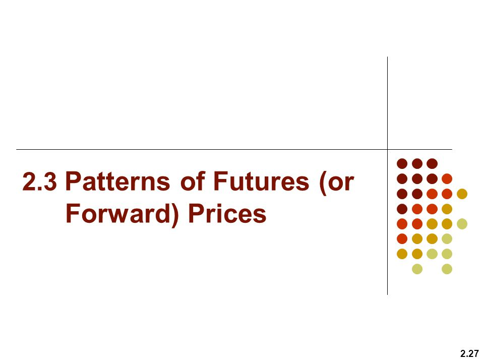2.3 Patterns of Futures (or Forward) Prices