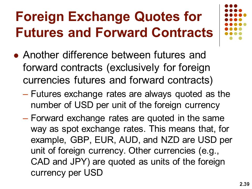 Foreign Exchange Quotes for Futures and Forward Contracts