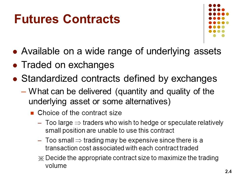 Futures Contracts Available on a wide range of underlying assets