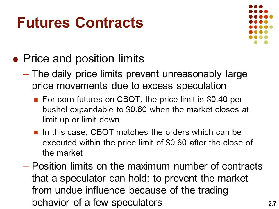 Futures Contracts Price and position limits