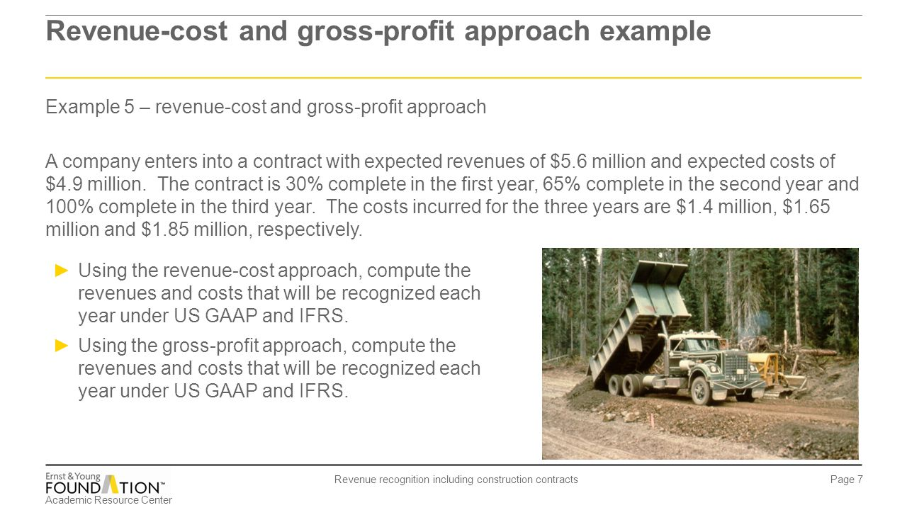 Revenue-cost and gross-profit approach example