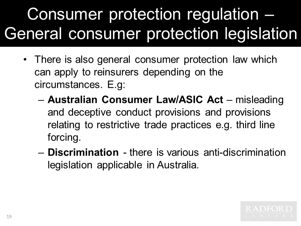 Consumer protection regulation – General consumer protection legislation