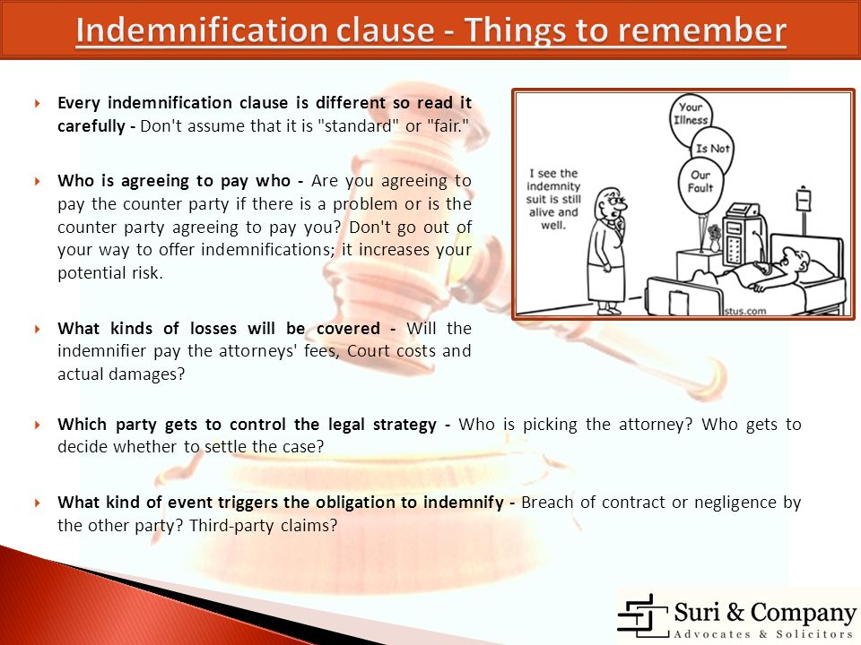 Indemnification clause - Things to remember