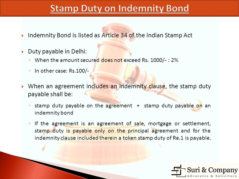 Stamp Duty on Indemnity Bond