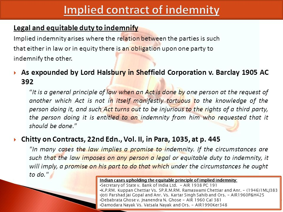 Implied contract of indemnity