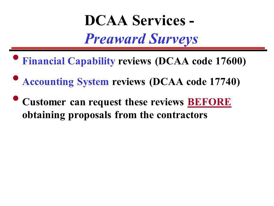 DCAA Services - Preaward Surveys