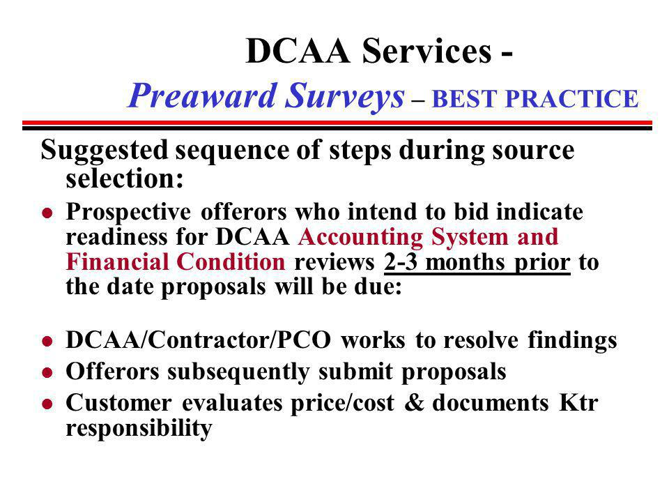 DCAA Services - Preaward Surveys – BEST PRACTICE