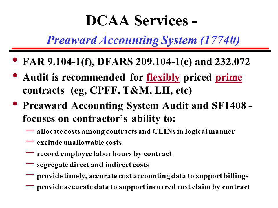 DCAA Services - Preaward Accounting System (17740)