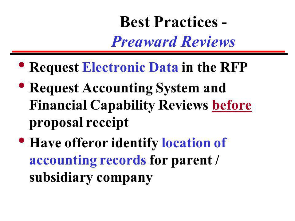 Best Practices - Preaward Reviews