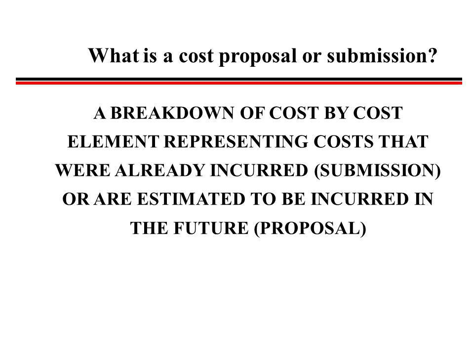 What is a cost proposal or submission