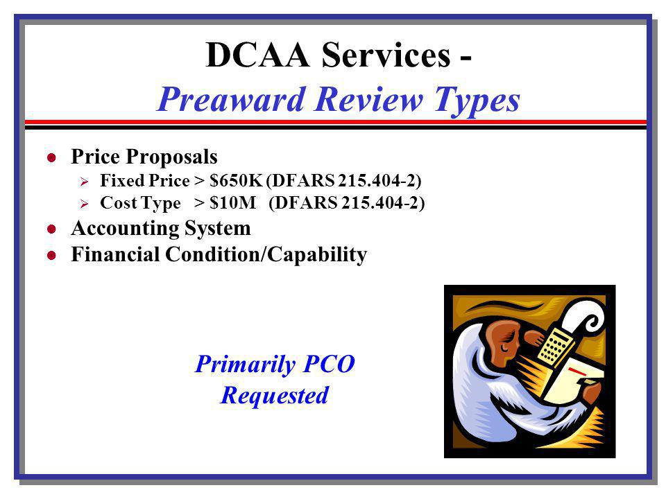 DCAA Services - Preaward Review Types