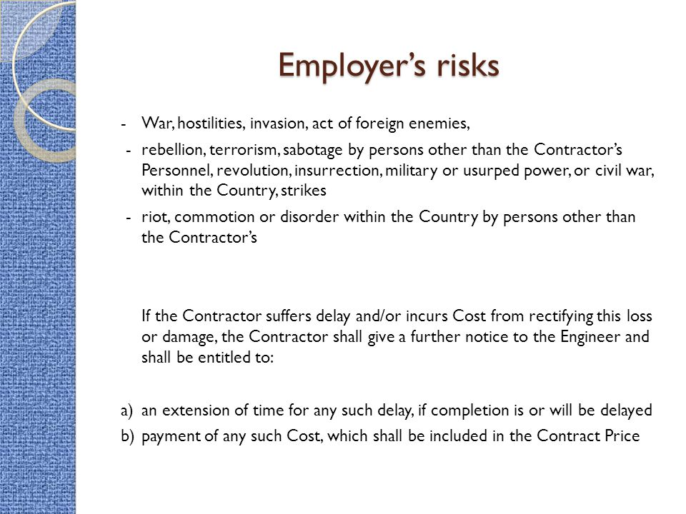 Employer's risks