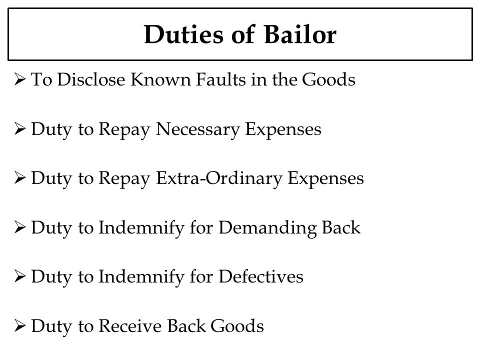 Duties of Bailor To Disclose Known Faults in the Goods
