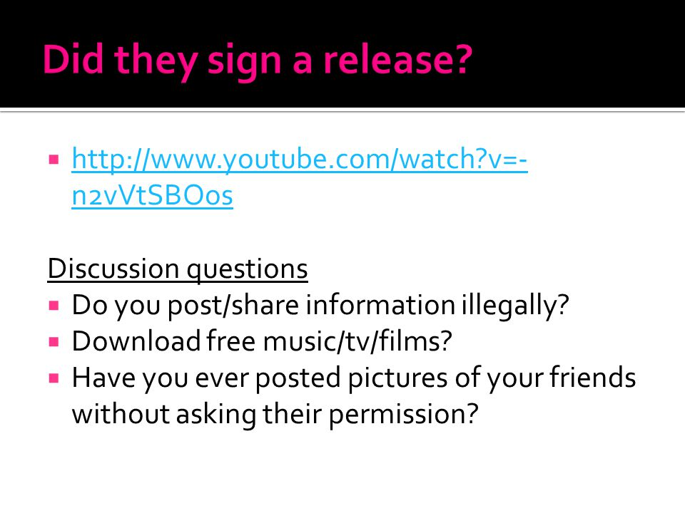 Did they sign a release http://www.youtube.com/watch v=-n2vVtSBOos