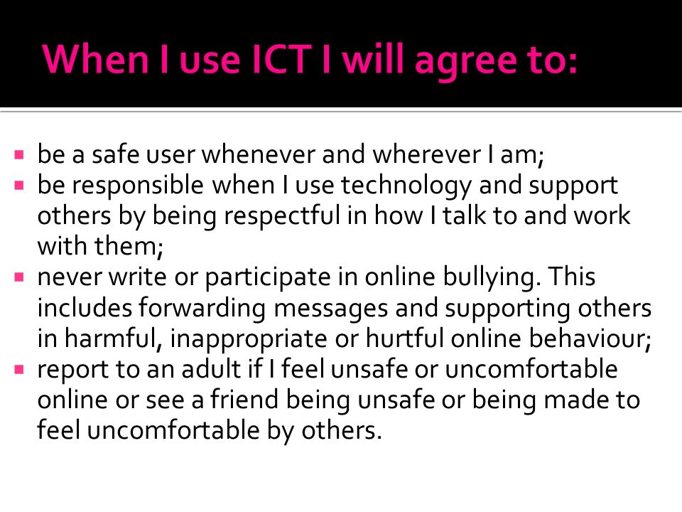 When I use ICT I will agree to:
