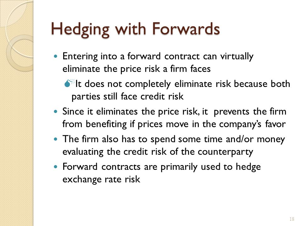Hedging with forward contracts