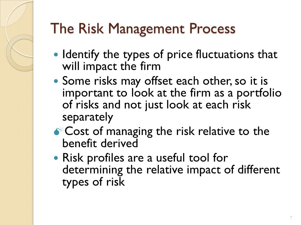 Risk Profiles Basic tool for identifying and measuring exposure to risk.