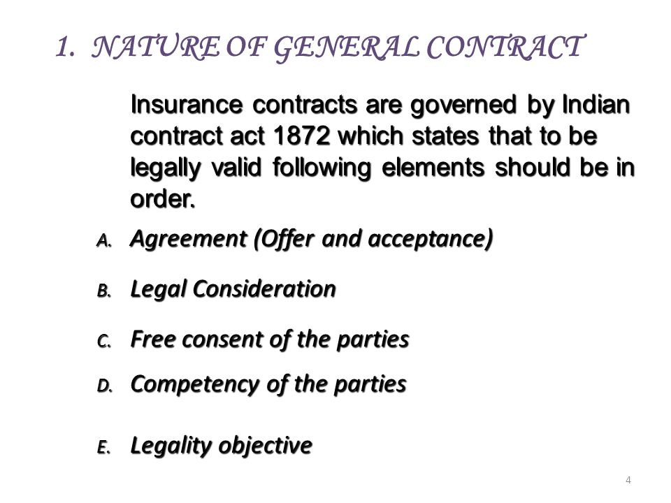 1. NATURE OF GENERAL CONTRACT