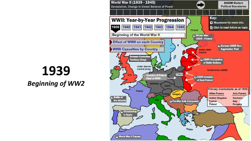WW2: Interactive Map A sequence of maps by year from 1939 – ppt download