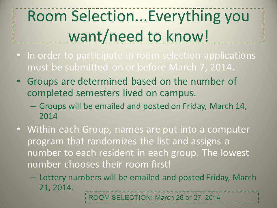 Room Selection...Everything you want/need to know!