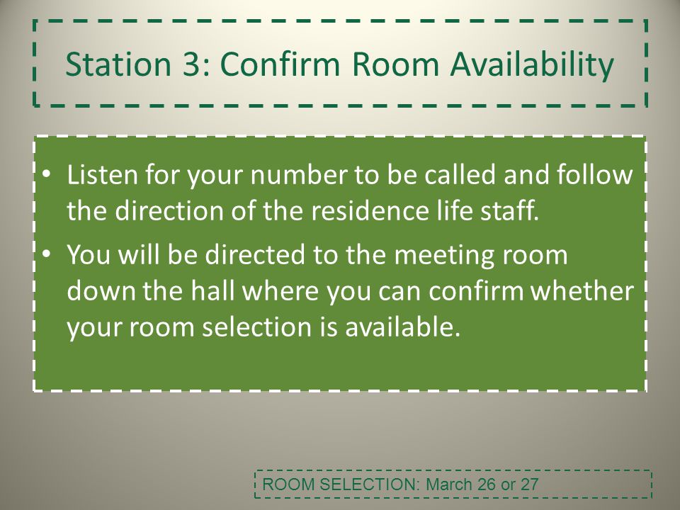 Station 3: Confirm Room Availability