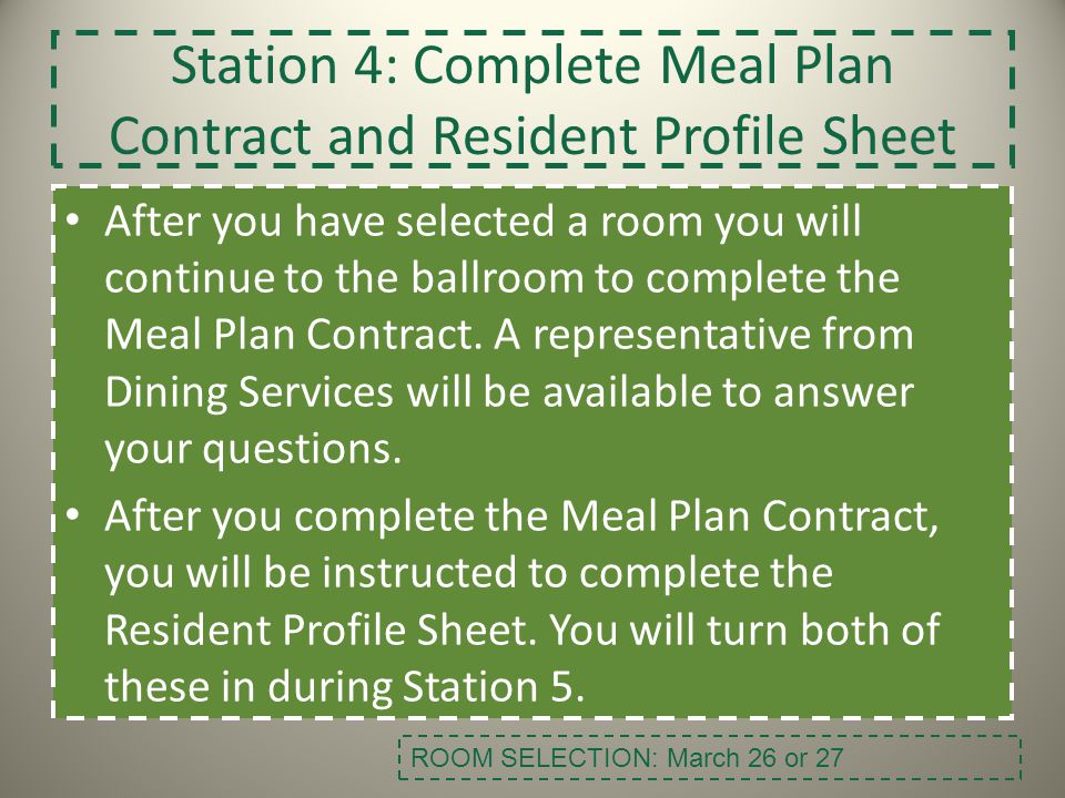 Station 4: Complete Meal Plan Contract and Resident Profile Sheet