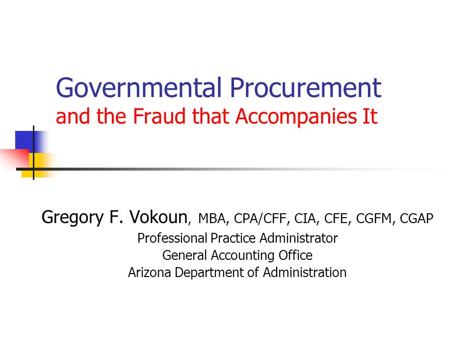 Governmental Procurement and the Fraud that Accompanies It