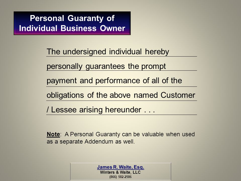 Personal Guaranty of Individual Business Owner