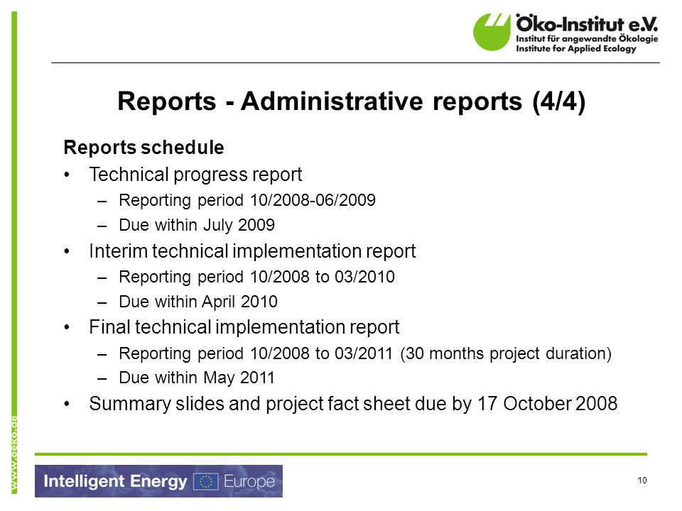 Reports - Administrative reports (4/4)