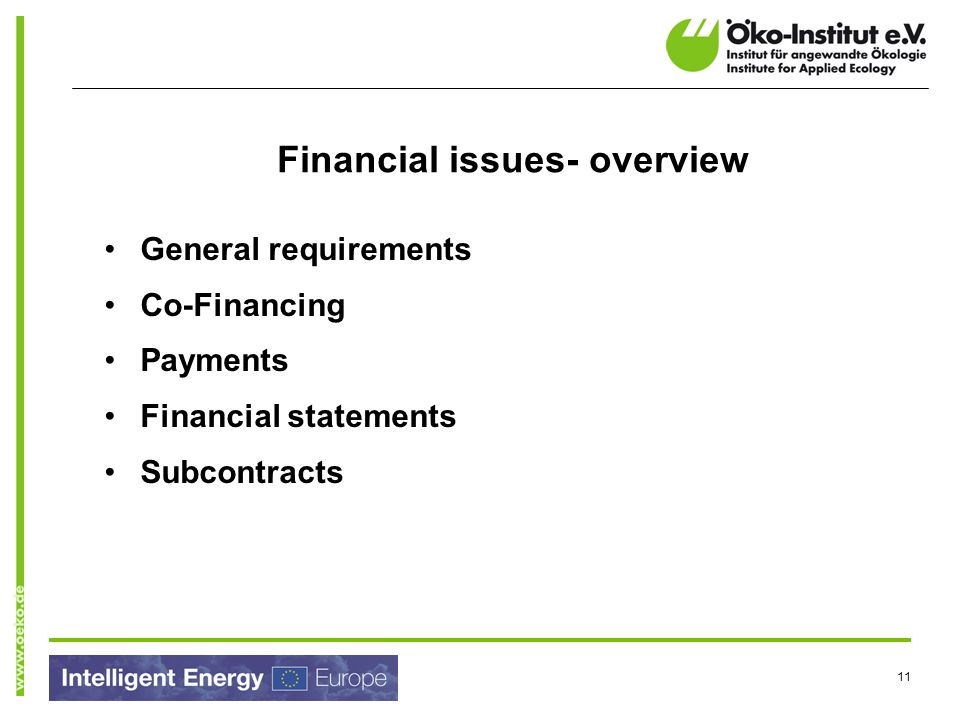 Financial issues- overview