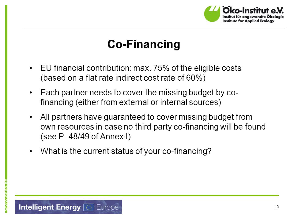 Co-Financing EU financial contribution: max. 75% of the eligible costs (based on a flat rate indirect cost rate of 60%)