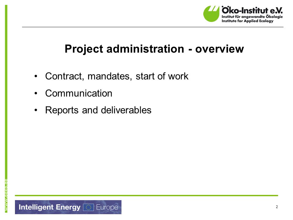 Project administration - overview