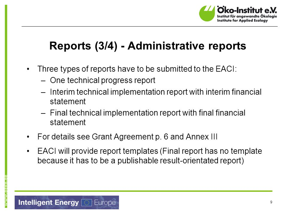 Reports (3/4) - Administrative reports
