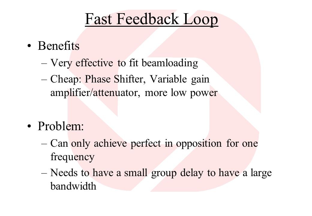 Fast Feedback Loop Benefits Problem: Very effective to fit beamloading