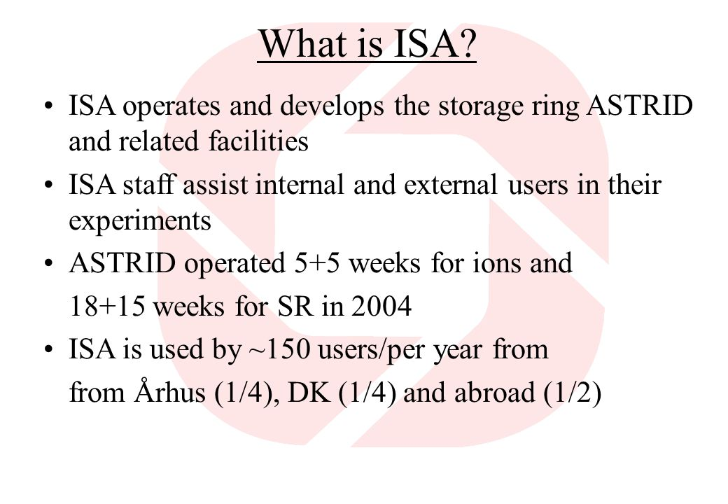 What is ISA ISA operates and develops the storage ring ASTRID and related facilities.