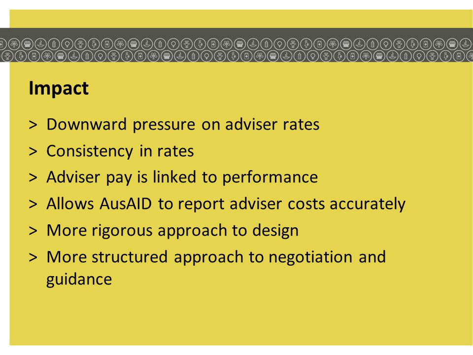 Impact Downward pressure on adviser rates Consistency in rates