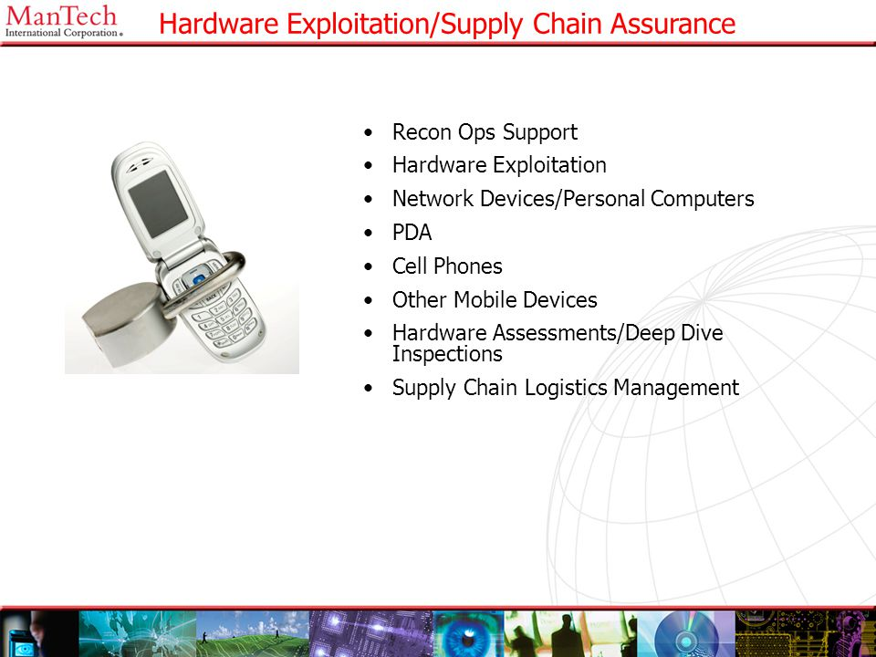 22 Hardware Exploitation/Supply Chain Assurance Recon Ops Support