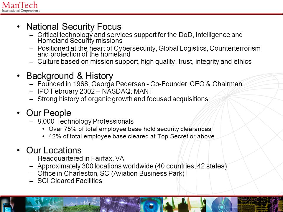 6 National Security Focus Background & History Our People