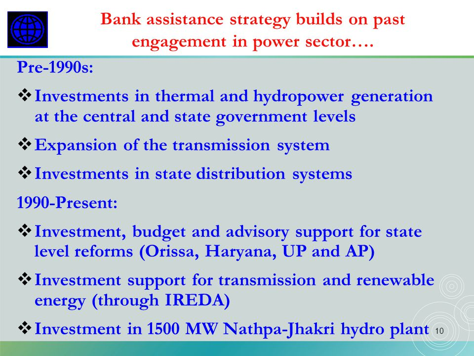 Bank assistance strategy builds on past engagement in power sector….